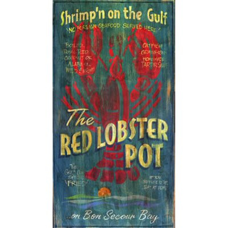 Custom The Red Lobster Pot Vintage Style Metal Sign