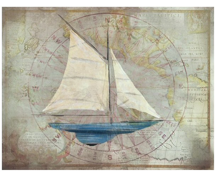 Custom Blue Sloop Sailboat with Map Vintage Style Metal Sign