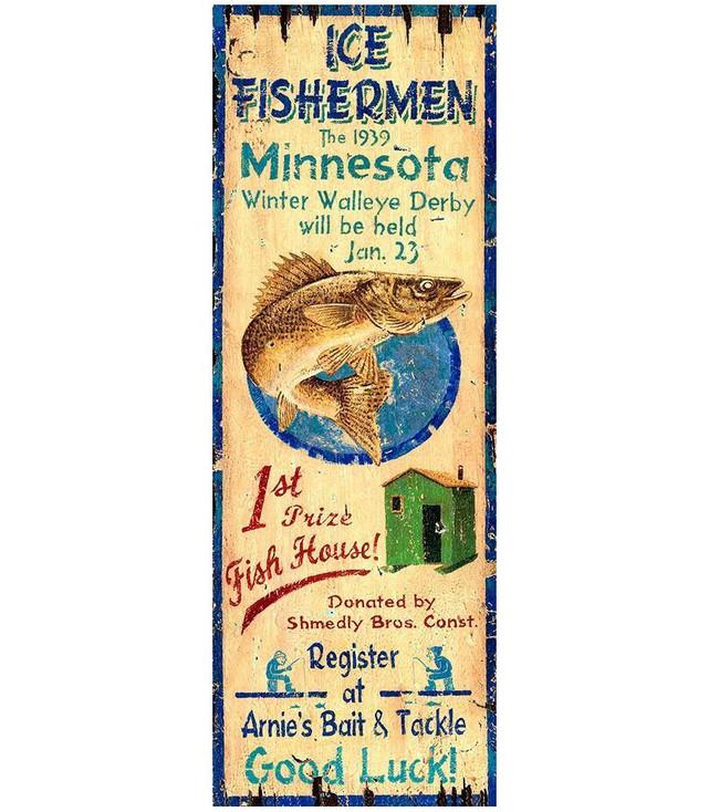 Custom Ice Fishing Vintage Style Metal Sign