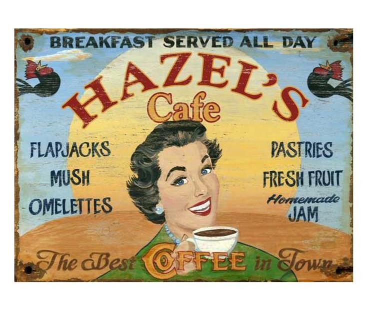 Custom Hazel's Cafe Vintage Style Metal Sign