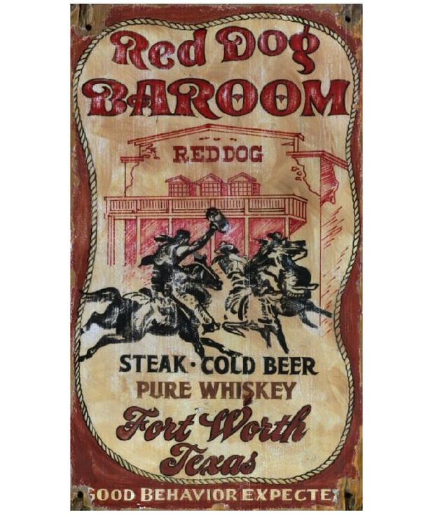 Custom Red Dog Barroom Vintage Style Metal Sign