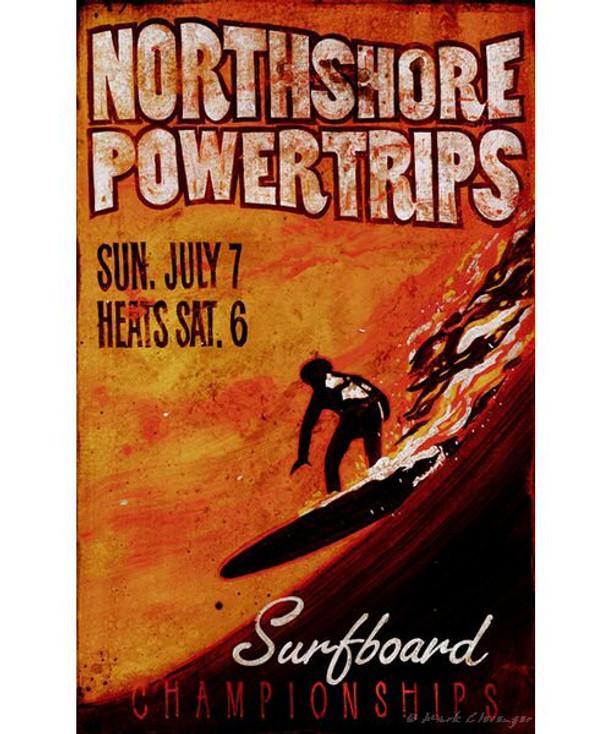Custom Northshore Powertrips Surfboard Vintage Style Metal Sign