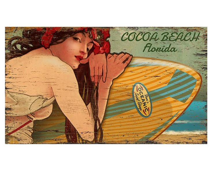 Custom Cocoa Beach Florida Surfer Girl Vintage Style Metal Sign