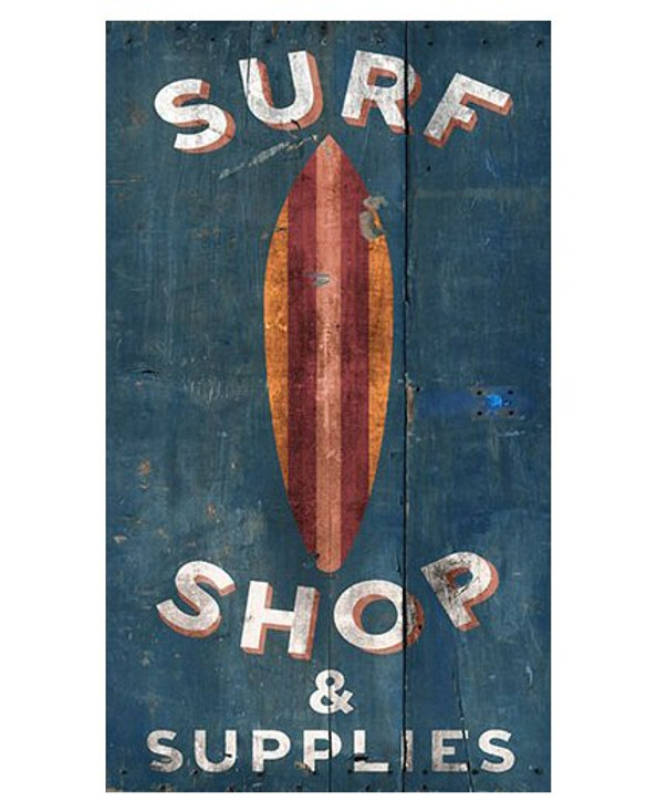 Custom Surf Shop & Supplies Surfboard Vintage Style Metal Sign