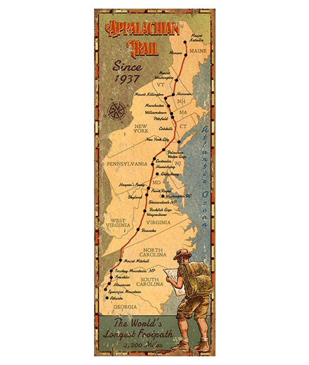 Custom Appalachian Trail Map Vintage Style Metal Sign