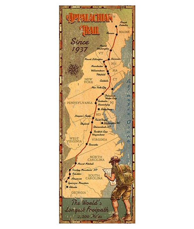 Custom Appalachian Trail Map Vintage Style Metal Sign