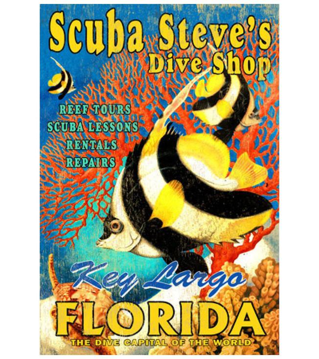 Custom Scuba Steve's Dive Shop Vintage Style Metal Sign