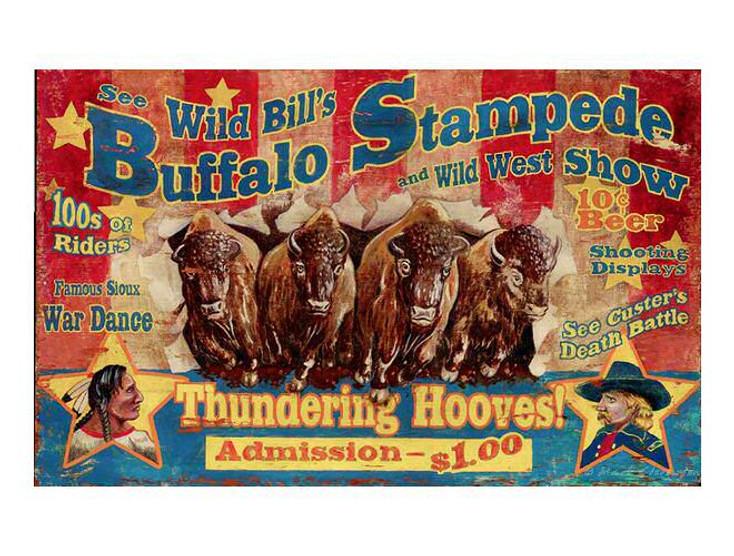 Custom Wild Bills Wild West Show Vintage Style Metal Sign