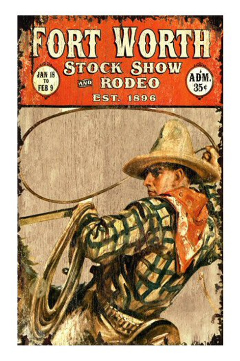 Custom Fort Worth Stock Show & Rodeo Vintage Style Metal Sign
