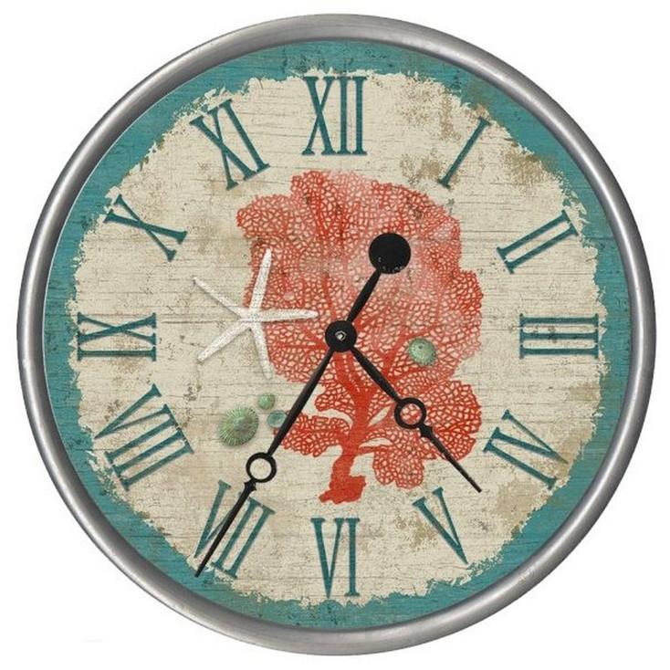 "15"" Custom Sea Fan with Starfish Vintage Style Wood Sign Wall Clock"