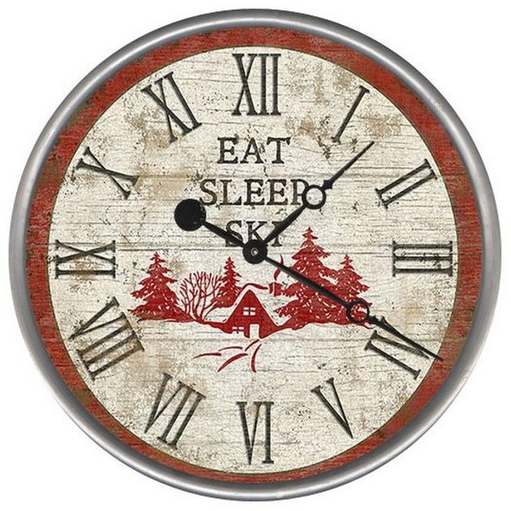 """15"""" Custom Eat Sleep Ski Vintage Style Wood Sign Wall Clock"""
