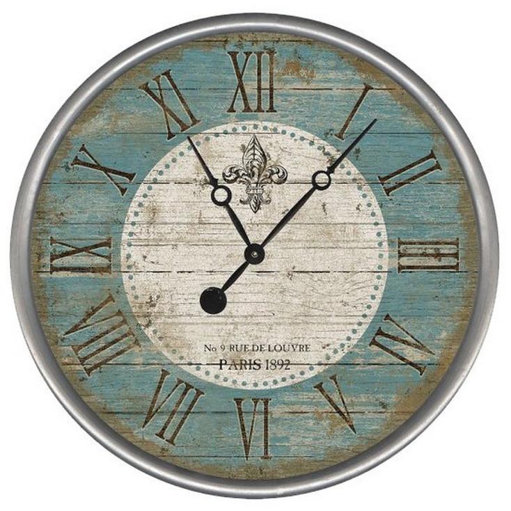 "15"" Custom Fleur De Lis Paris Vintage Style Wood Sign Wall Clock"