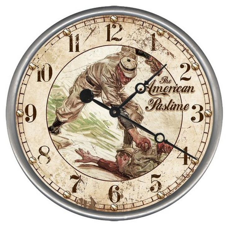 "15"" Custom American Pastime Baseball Vintage Style Wood Wall Clock"