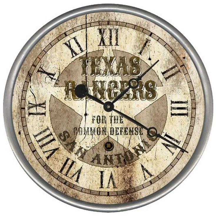 "15"" Custom Texas Rangers Vintage Style Wood Sign Wall Clock"
