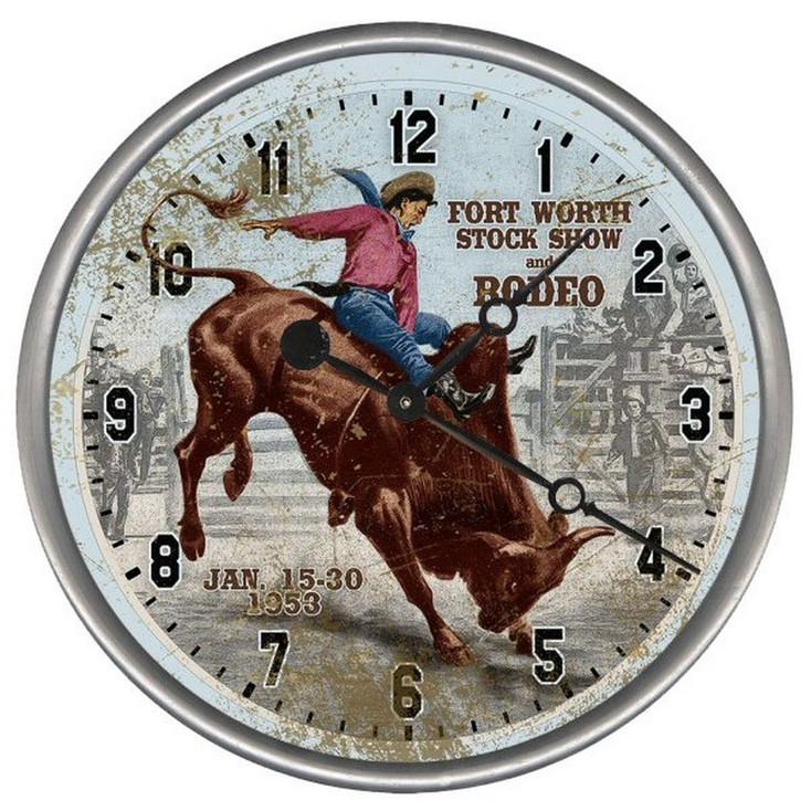 "15"" Custom Bull Rider Rodeo Vintage Style Wood Sign Wall Clock"