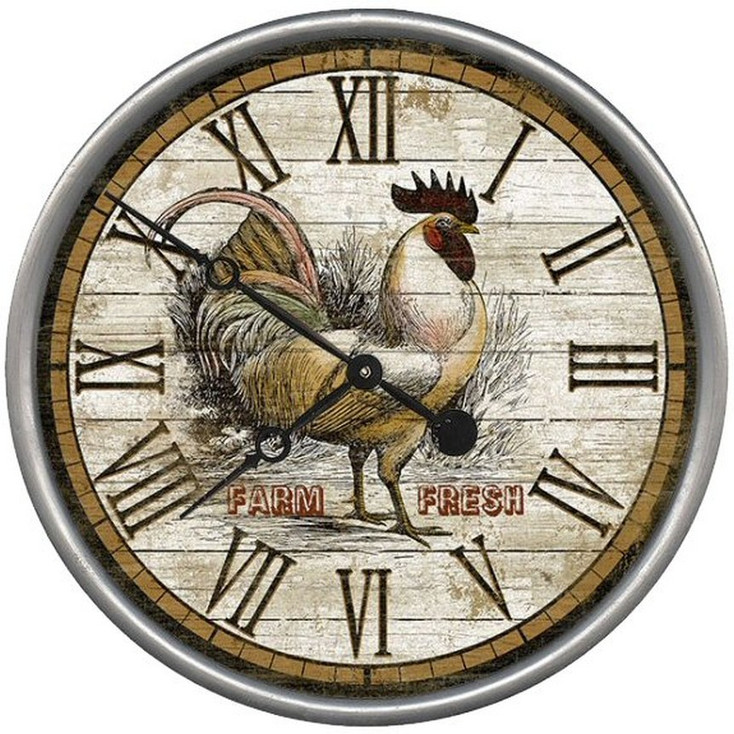 "15"" Custom Farm Fresh Rooster Time Vintage Style Wood Sign Wall Clock"