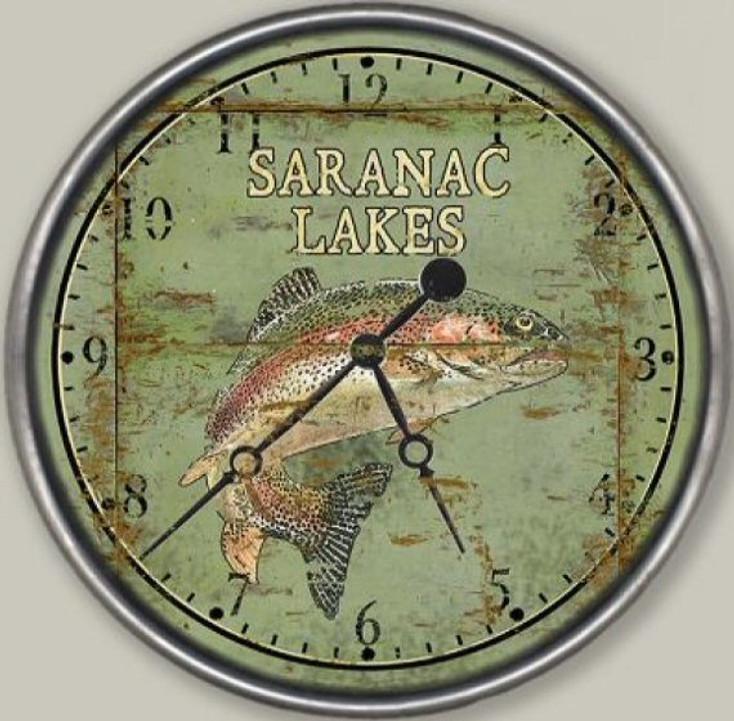 "15"" Custom Saranac Lake Trout Fish Vintage Style Wood Sign Wall Clock"