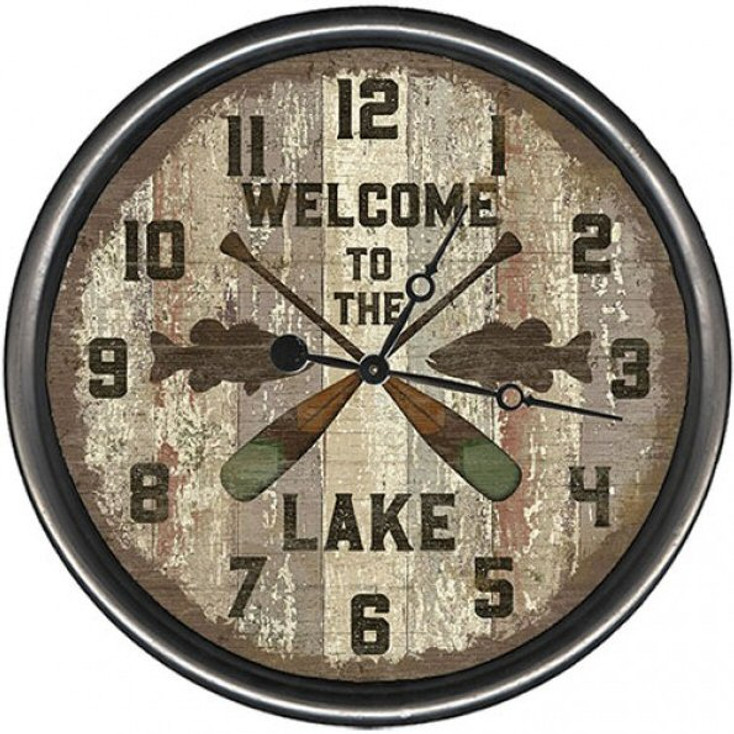 """15"""" Custom Welcome to the Lake Oars Vintage Style Wood Sign Wall Clock"""