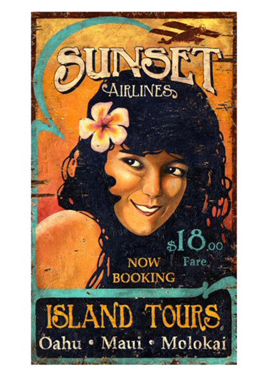 Custom Sunset Airlines Vintage Style Wooden Sign