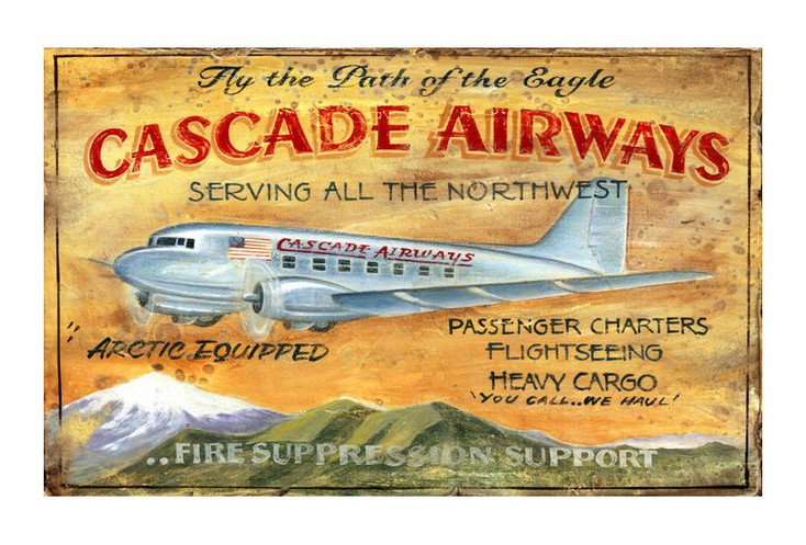 Custom Cascade Airways Vintage Style Wooden Sign