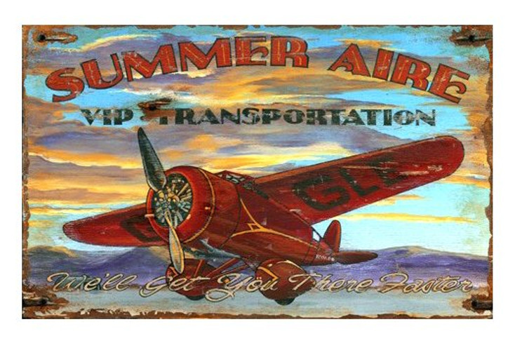 Custom Summer Aire Airplane Vintage Style Wooden Sign