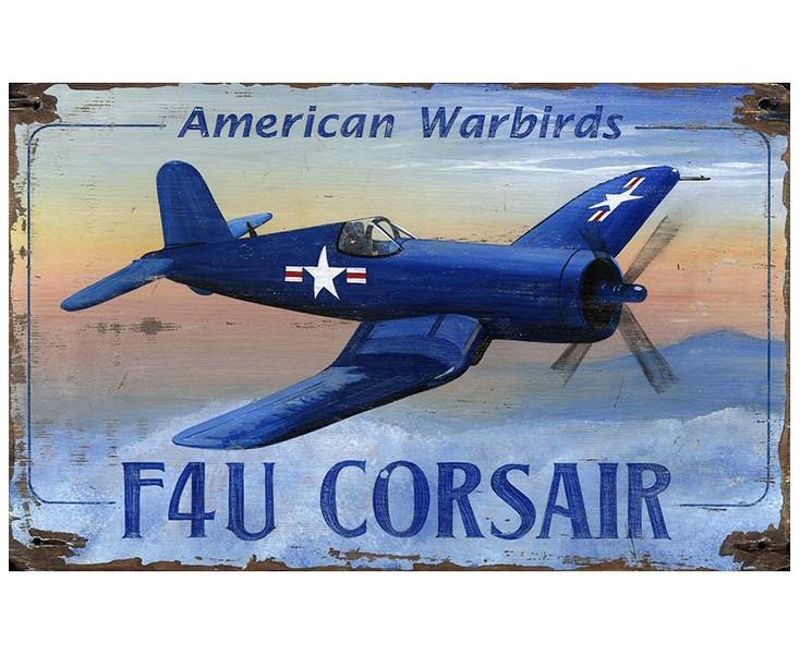 Custom F4U Corsair Plane Vintage Style Wooden Sign