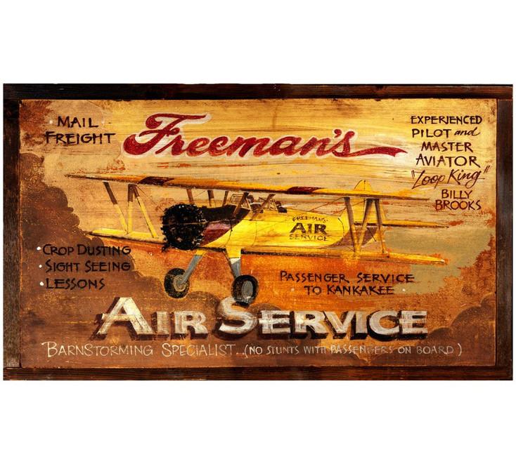 Custom Freemans Air Service Vintage Style Wooden Sign