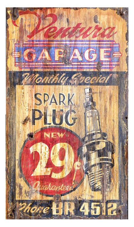 Custom Ventura Garage Spark Plug Vintage Style Wooden Sign