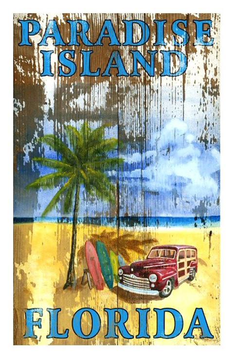 Custom Beach Palm Paradise Island Vintage Style Wooden Sign