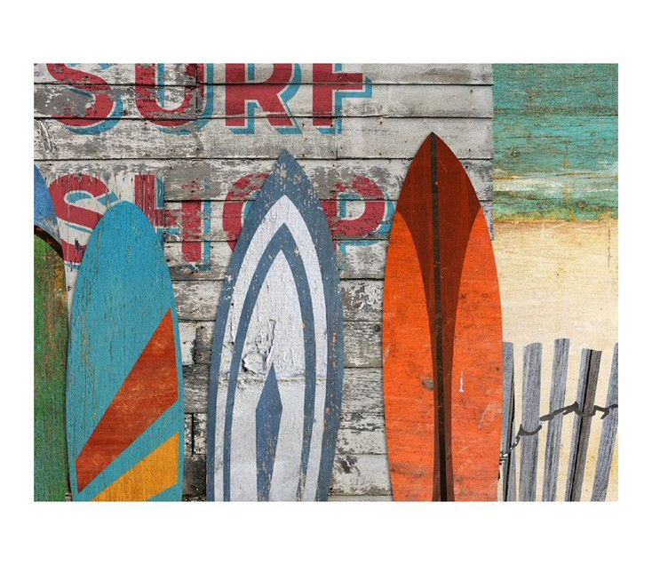 Custom Beach Surfboards Vintage Style Wooden Sign