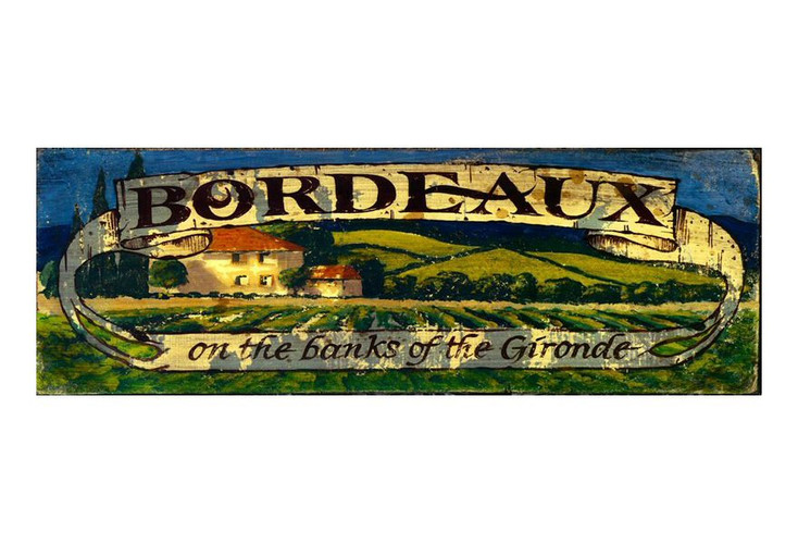 Custom Bordeaux Banks of the Gironde Vintage Style Wooden Sign