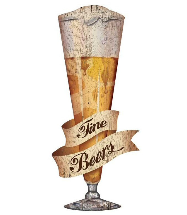 Custom Large Craft Fine Beer Cutout Vintage Style Wooden Sign
