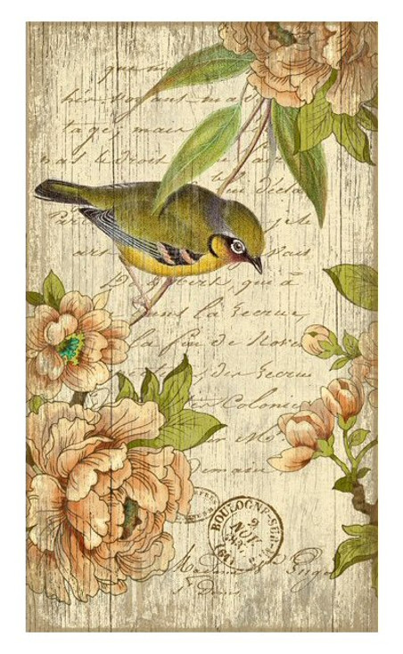 Left Bird with Flowers Vintage Style Wooden Sign