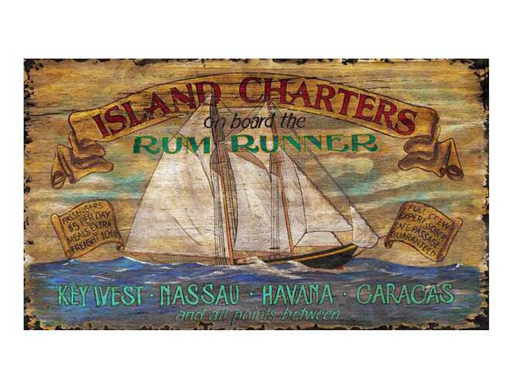 Custom Island Charters Vintage Style Wooden Sign