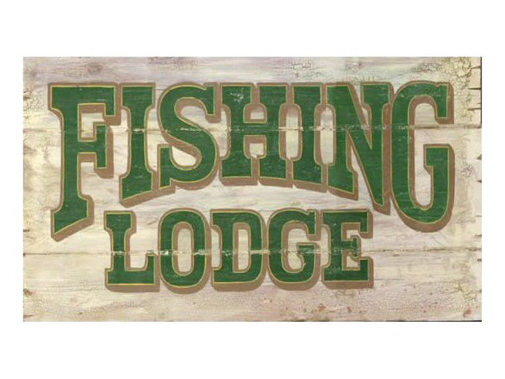 Custom Fishing Lodge Vintage Style Wooden Sign