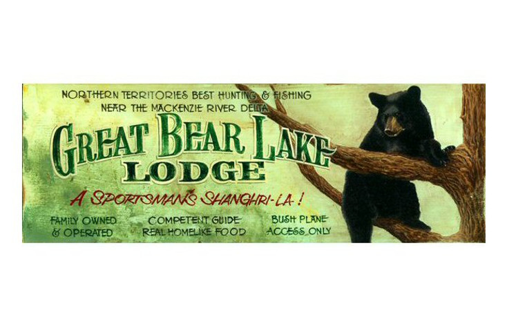 Custom Great Bear Lake Lodge Vintage Style Wooden Sign
