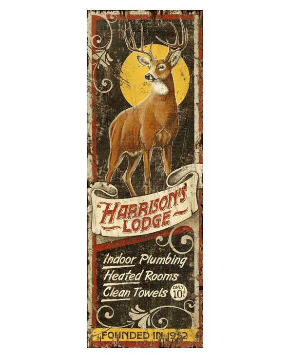 Custom Harrison's Deer Lodge Vintage Style Wooden Sign