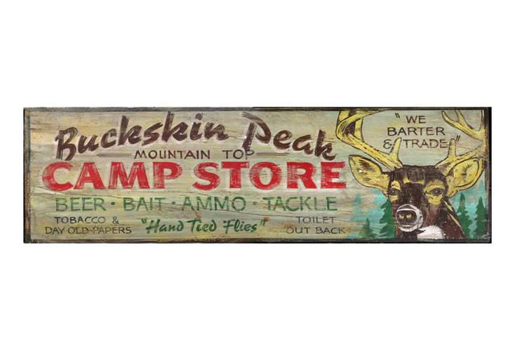 Custom Buckskin Peak Camp Store Vintage Style Wooden Sign