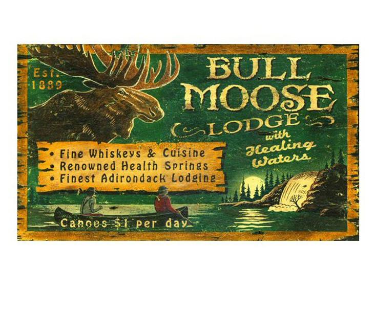 Custom Bull Moose Lodge Vintage Style Wooden Sign