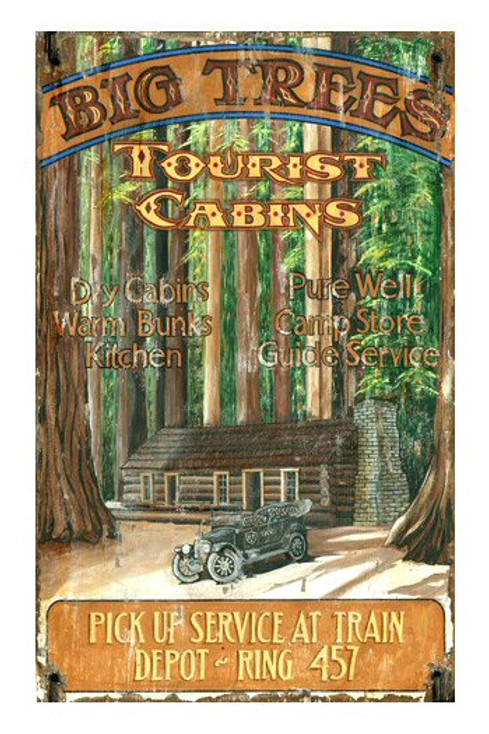 Custom Big Trees Tourist Cabins Vintage Style Wooden Sign