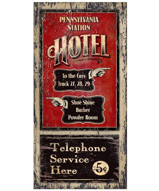 Custom Pennsylvania Station Hotel Vintage Style Wooden Sign