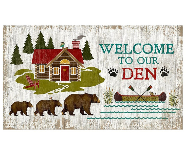 Custom Bears Welcome to Our Den Vintage Style Wooden Sign