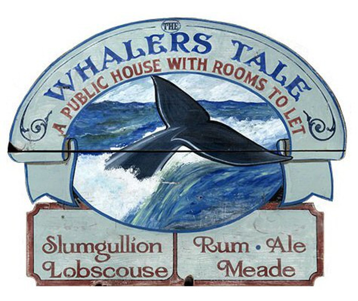 Custom Whaler's Tale Public House with Rooms Vintage Style Wooden Sign