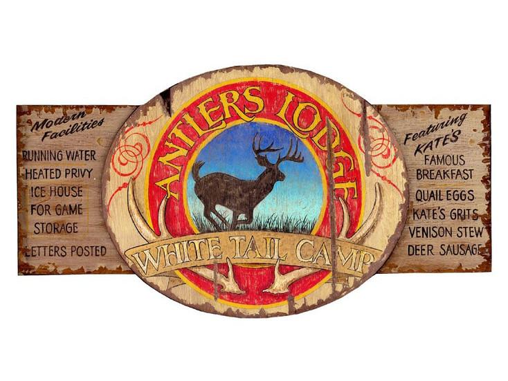 Custom Antlers Lodge Vintage Style Wooden Sign