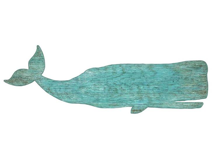 Aqua Color Whale Vintage Style Cutout Wooden Sign