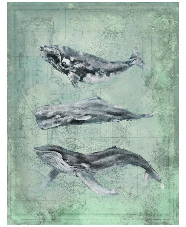 Custom Three Whales Vintage Style Wooden Sign
