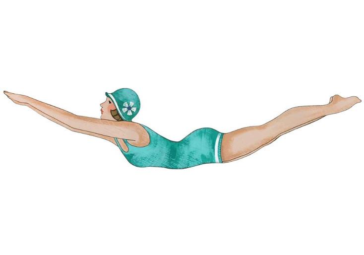 Aqua Color Diving Girl Vintage Style Cutout Wooden Sign