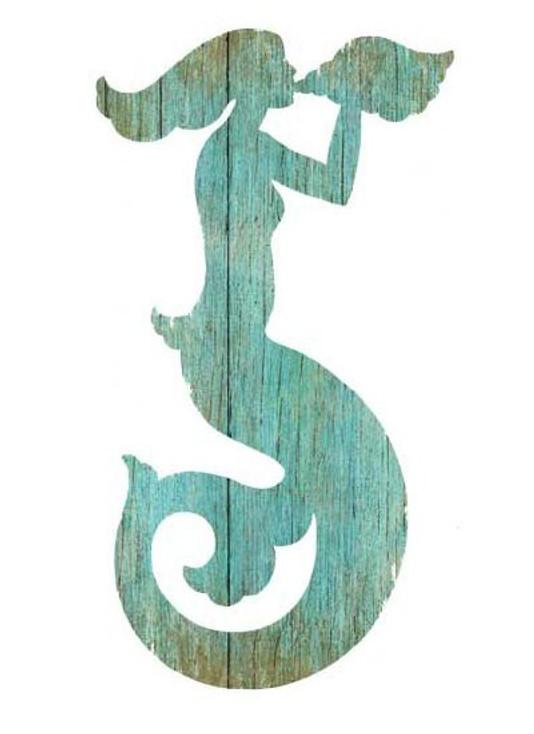 Left Aqua Mermaid Silhouette Vintage Style Wooden Sign