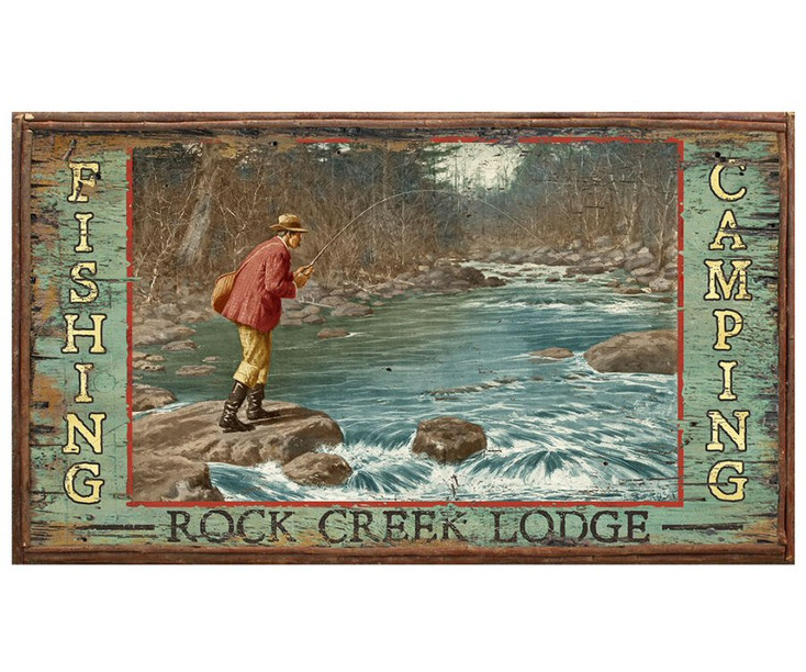 Custom Rock Creek Lodge Fishing Vintage Style Wooden Sign