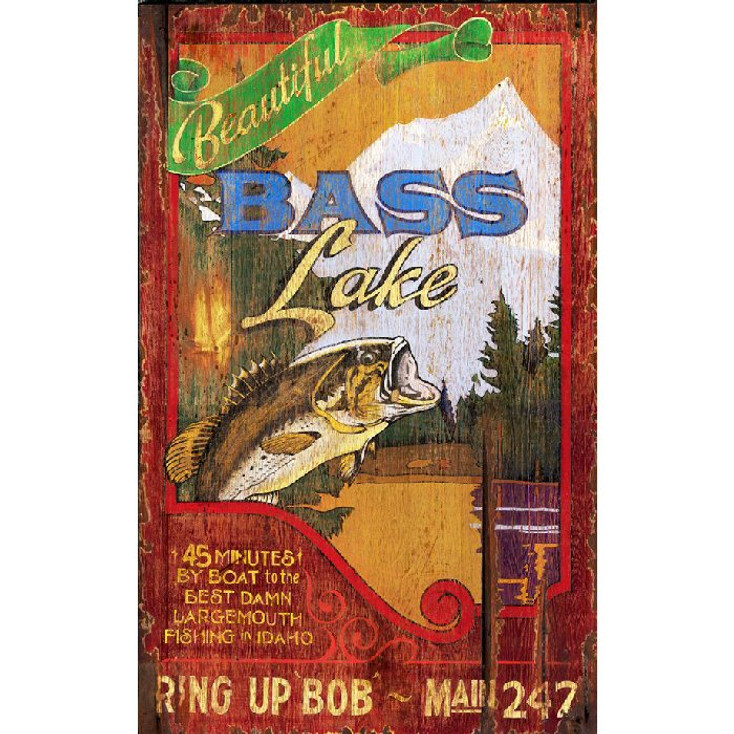 Custom Bass Lake Vintage Style Wooden Sign